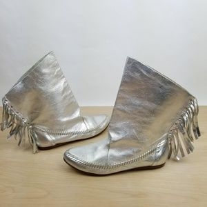 Vintage 70s Fringe Boots Silver Leather Booties